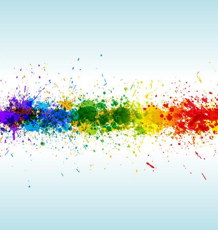 splash color: Spruzzi di vernice di colore. Sfondo sfumato su sfondo bianco e blu.