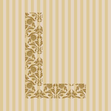 Floral font. Ornament letter on decoration background. Vector