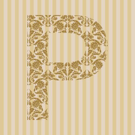 Floral font. Ornament letter on decoration background. Stock Vector - 8093189