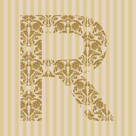 Floral font. Ornament letter on decoration background. Stock Vector - 8093200