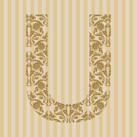 Floral font. Ornament letter on decoration background. Stock Vector - 8093191
