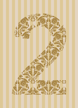 Floral font. Ornament number on decoration background (see other in my portfolio). Vector