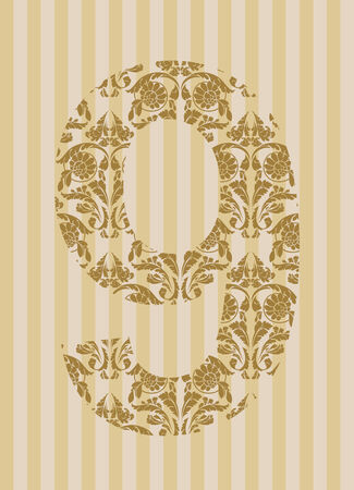 Floral font. Ornament number on decoration background (see other in my portfolio). Stock Vector - 8093185