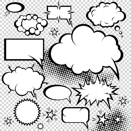 Comic bubbles collection. Funny design items. Vector