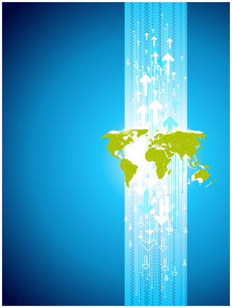 Map site business. Digital templete in blue and green. Vector