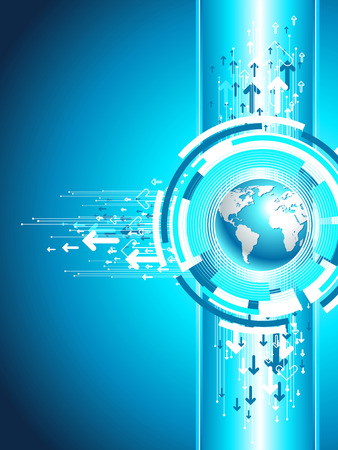 Map for business site. Vertical globe illustration. Technology background in blue.