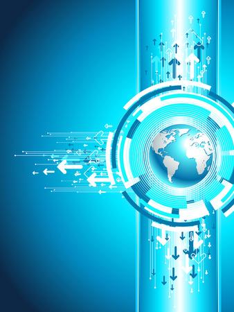 Mapa de sitio de negocio. Ilustración de mundo vertical. Fondo de tecnología en azul.
