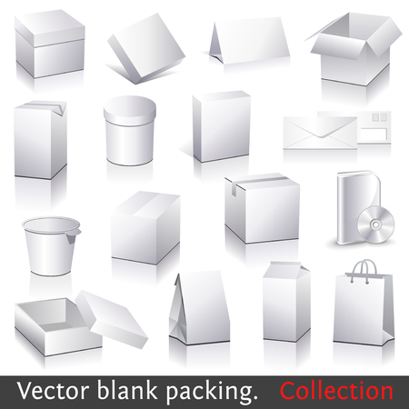 blank packing collection. Set of white paper packaging and stationery elements. Dummies set to place your design on. Vector