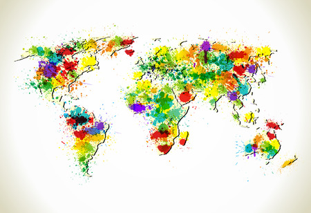 Paint splashes world map   background. Grunge business map template. Vector