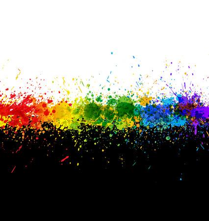 Salpicaduras de pintura de color. Fondo degradado. Plantilla de la ilustración.