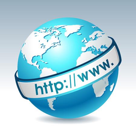 Globe with internet address. Clean illustration on gradient background. Web design element. Vector