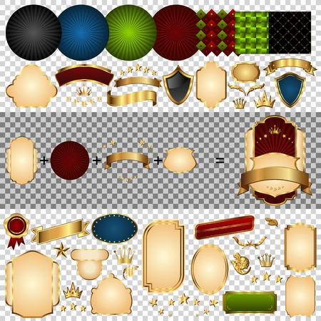Gold-framed labels parts. Retro design template. Element for frame. Vector