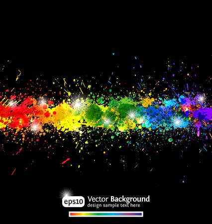 Colorful gradient paint splashes  background.   Modern   illustration. Vector