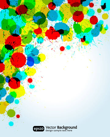 Color paint splashes corner background.   illustration.   Vector