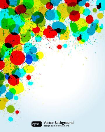 watercolour paper: Color paint splashes corner background.   illustration.