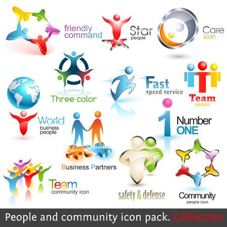 Negocio personas comunidad 3d iconos. Elementos de diseño de vector. Conjunto de símbolos de trabajo en equipo de negocios. Ilustración de vector
