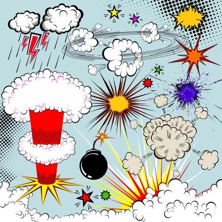 dinamita: Elementos de explosi�n de c�mics de vectoriales para su dise�o. S�mbolos de dibujos animados. Vectores