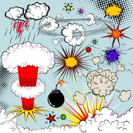 bomb: Vector comic book explosion elements for your design. Cartoon symbols. Illustration