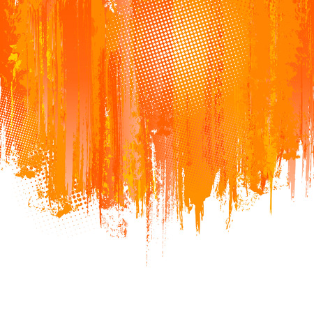 dripping paint: Orange paint splashes background. Vector background with place for your text.
