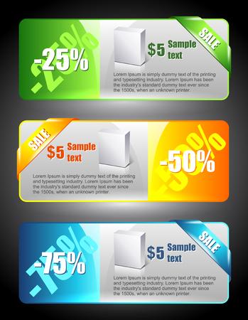 Bannières de vente. Illustration de marketing. Signe de prix. Modèle de réduction