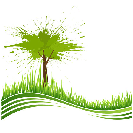 greenhouse and ecology: Green grass and tree. Eco background. Abstract green vector illustration with copyspase.