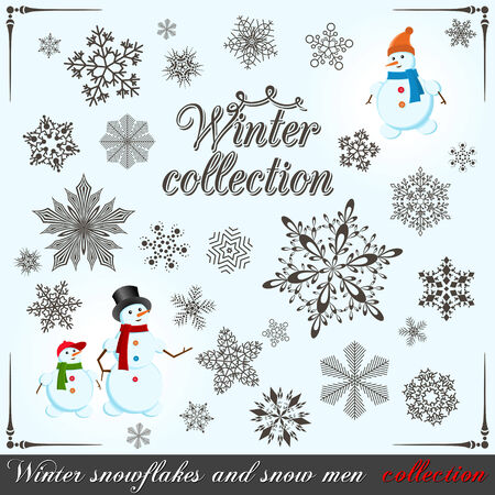Winter collection. Set of snowflakes and snow men for your design. Vector