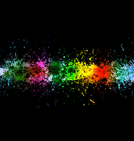 Eps 10 color paint splashes. Gradient vector background on black background. Vector