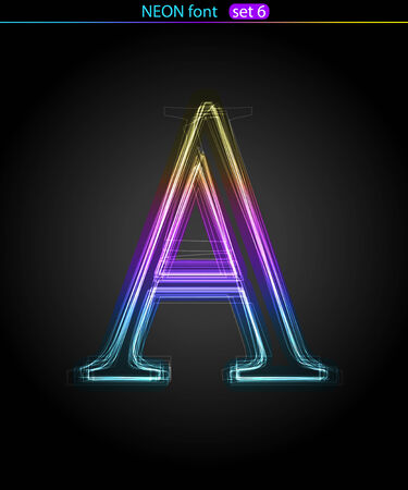 Gradient color neon font. Letter A. VECTOR Stock Vector - 8497401