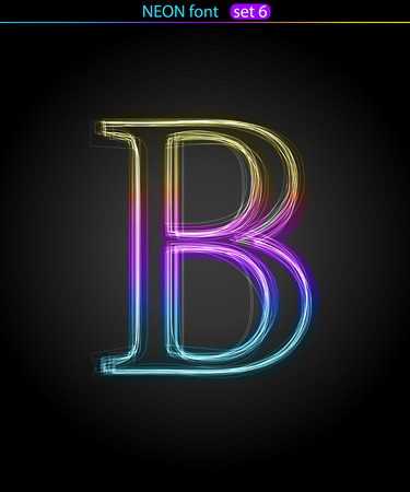 Gradient color neon font. Letter  B. VECTOR Stock Vector - 8497408