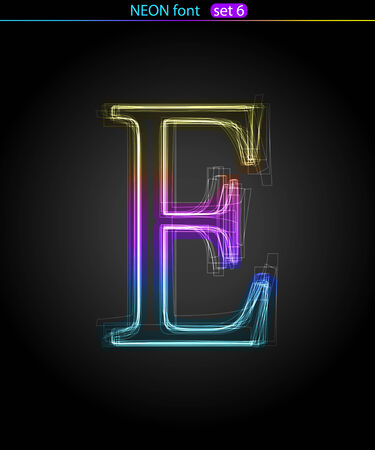 e data: Gradient color neon font. Letter  E. VECTOR