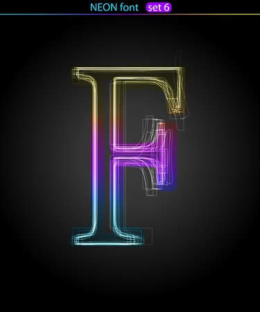 Gradient color neon font. Letter  F. VECTOR Stock Vector - 8497337