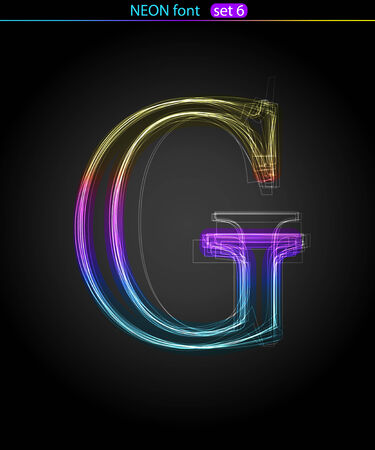 Gradient color neon font. Letter G . VECTOR Stock Vector - 8497406