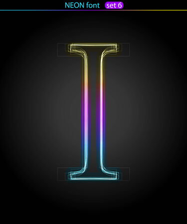 Gradient color neon font. Letter  I. VECTOR Stock Vector - 8497283