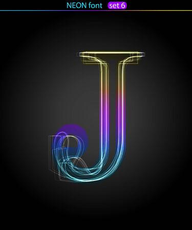Gradient color neon font. Letter  J. VECTOR Stock Vector - 8497342