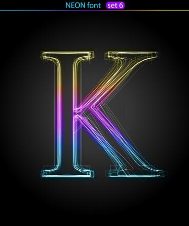 Gradient color neon font. Letter  K. VECTOR Stock Vector - 8497413
