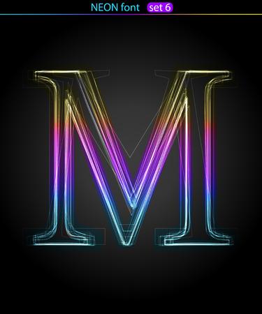 Gradient color neon font. Letter  M. VECTOR Vector