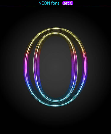 Gradient color neon font. Letter  O. VECTOR Stock Vector - 8497339