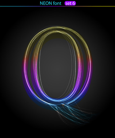 Gradient color neon font. Letter  Q. VECTOR Stock Vector - 8497351