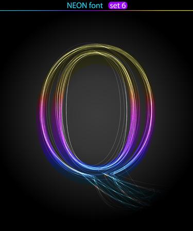Gradient color neon font. Letter  Q. VECTOR Stock Vector - 8497351