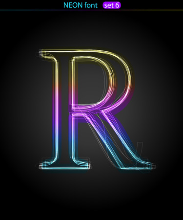 Gradient color neon font. Letter  R. VECTOR Stock Vector - 8497410