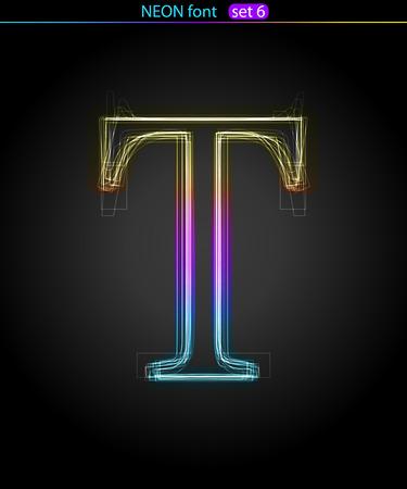 Gradient color neon font. Letter  T. VECTOR Stock Vector - 8497338