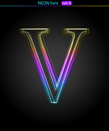 Gradient color neon font. Letter  V. VECTOR Stock Vector - 8497348