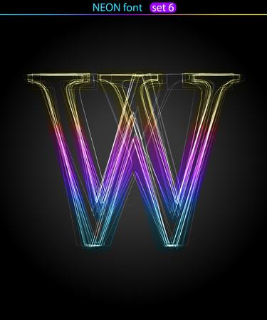 Gradient color neon font. Letter  W. VECTOR Stock Vector - 8497407