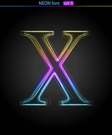 Gradient color neon font. Letter  X. VECTOR Stock Vector - 8497412
