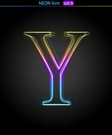 Gradient color neon font. Letter Y . VECTOR Stock Vector - 8497400