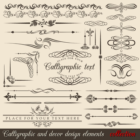 Calligraphic and decor design elements. design corners, bars, swirls, frames and borders. Hand written retro feather symbols. Stock Vector - 8803641