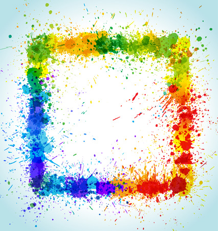 Color paint splashes square background. Gradient frame. Vector