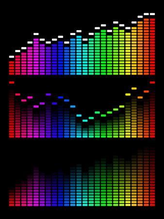 equipo de sonido: ecualizador digital de degradado. Fondo de onda de volumen.