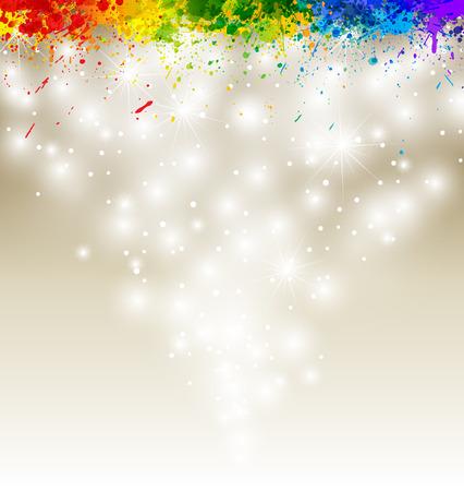 Color paint splashes artwork. Snow vector background.  Vector