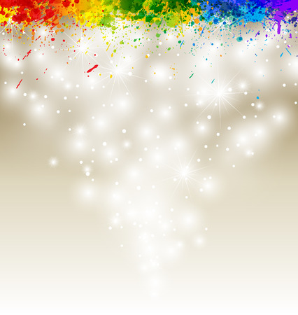 Color paint splashes artwork. Snow vector background.  Vector